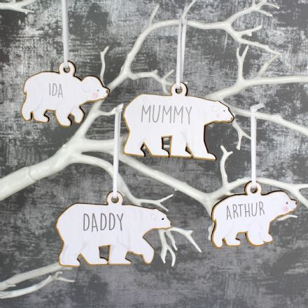 Set of Four Polar Bear Family Wooden Hanging Decorations
